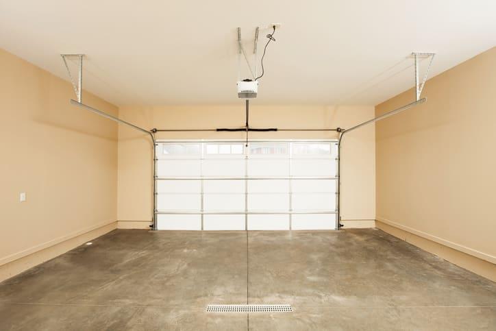 Empty beige garage