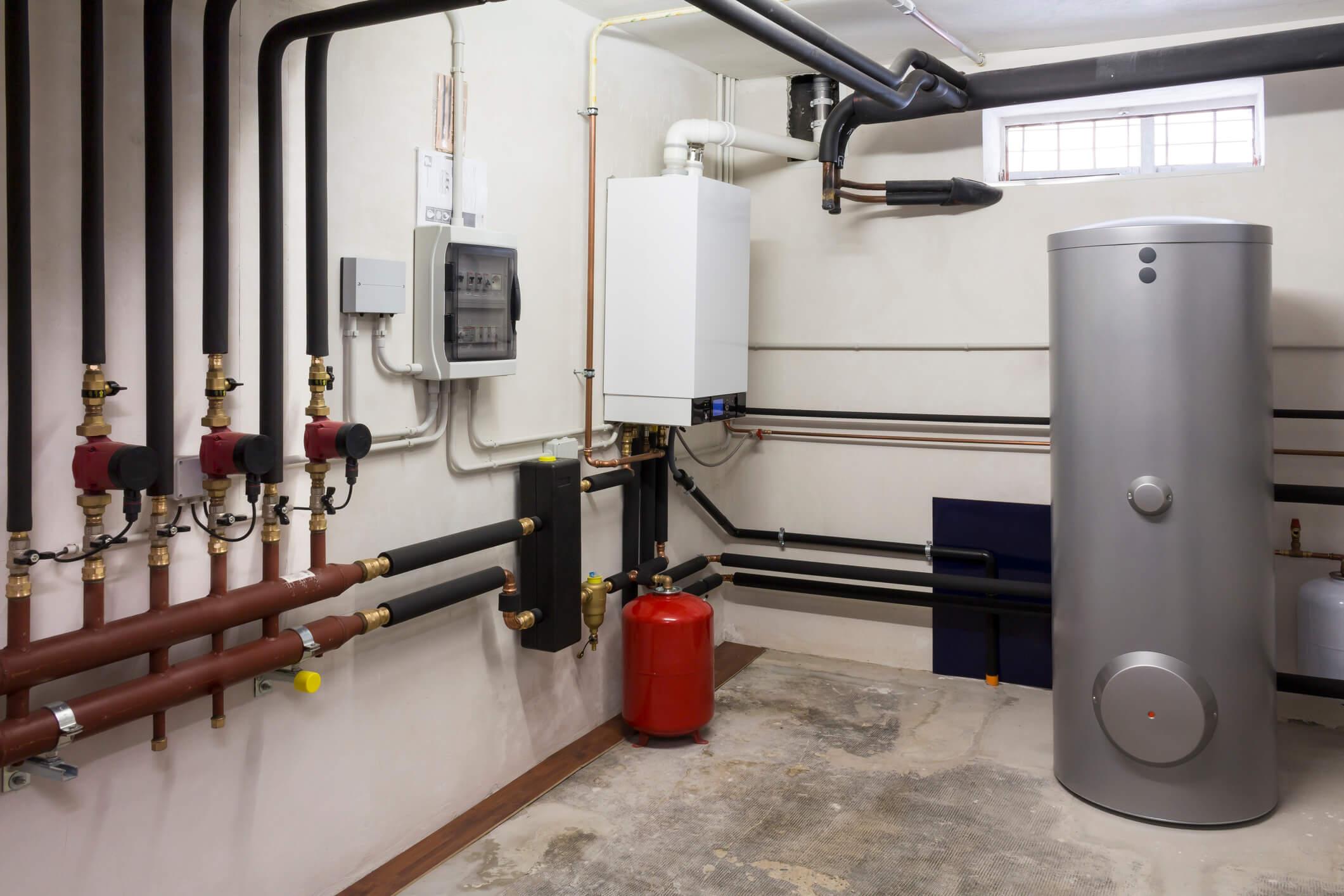 condensing water heater in boiler room