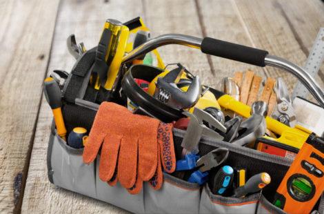 plumbing tools in a bag